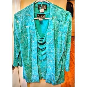 NWT 2 PIECE ALEX EVENINGS TOP Size Small